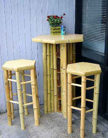 Hexagon bamboo bar table with stools