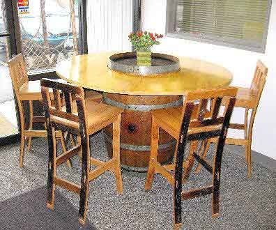 wine barrel table with cabinet waste receptacle for business or home