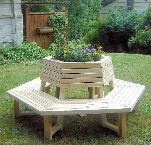 Circular Tree Bench Plans Cedar Wood Outdoor Furniture