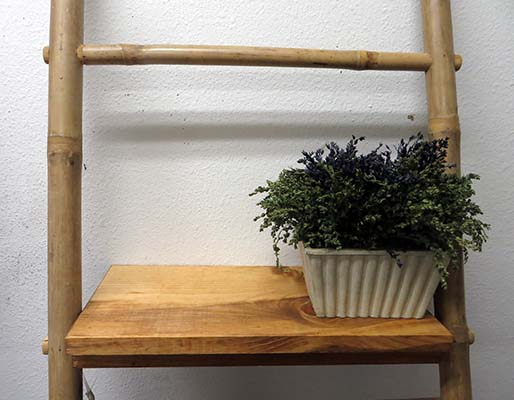 Optional addon shelf on the 4th prong of 6  ladder rack ladder rack for  bath towel. Bamboo Ladder