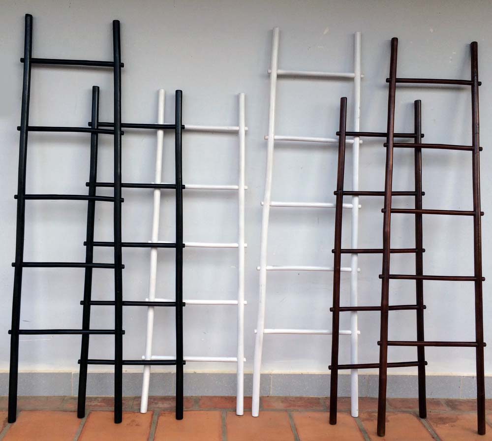 6  5  BLR stained bamboo ladder rack in black  white and mahogany color. Colored Bamboo Ladder Rack