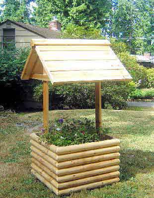 Wagon planter wishing well planter