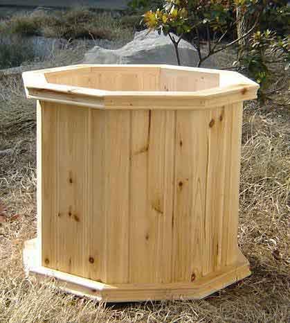 wooden octagonal planters 2