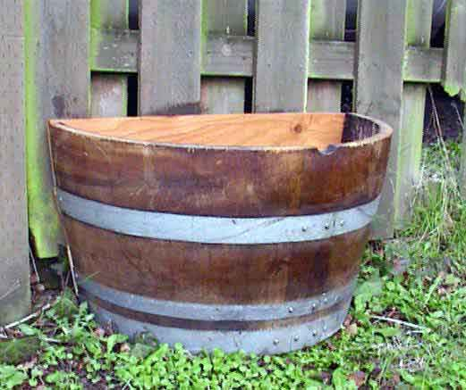 Wine Barrel Wood Planter