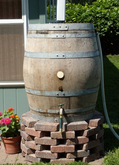 Our 52 to 60 gallons rain barrels are made of recycled water tight wine