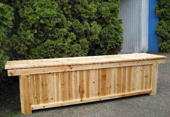 Outdoor Cedar Wood Storage Bench.