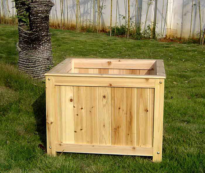 Large Corner L Shaped Wooden Garden Planter Box Trough: Villa Square Wood Planter